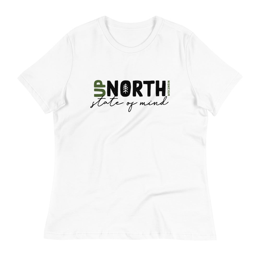 White Women's Relaxed fit T-shirt with Up North State of Mind script