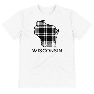 White sustainable t-shirt with black plaid design and Wisconsin word