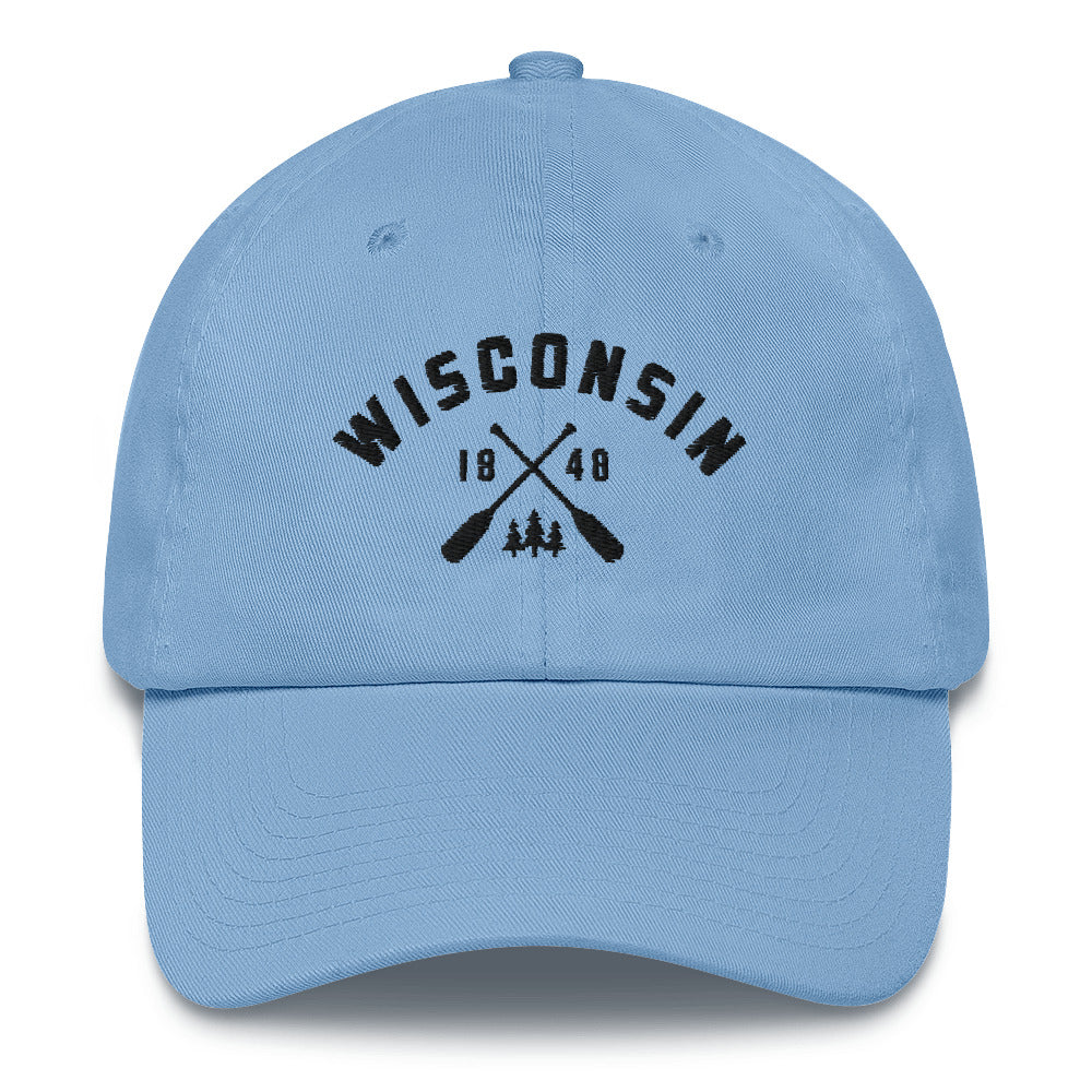 Carolina Blue cotton baseball cap with Wisconsin paddle design in black