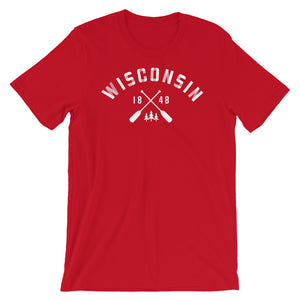 Red  unisex short sleeve tee with Wisconsin paddle design in white