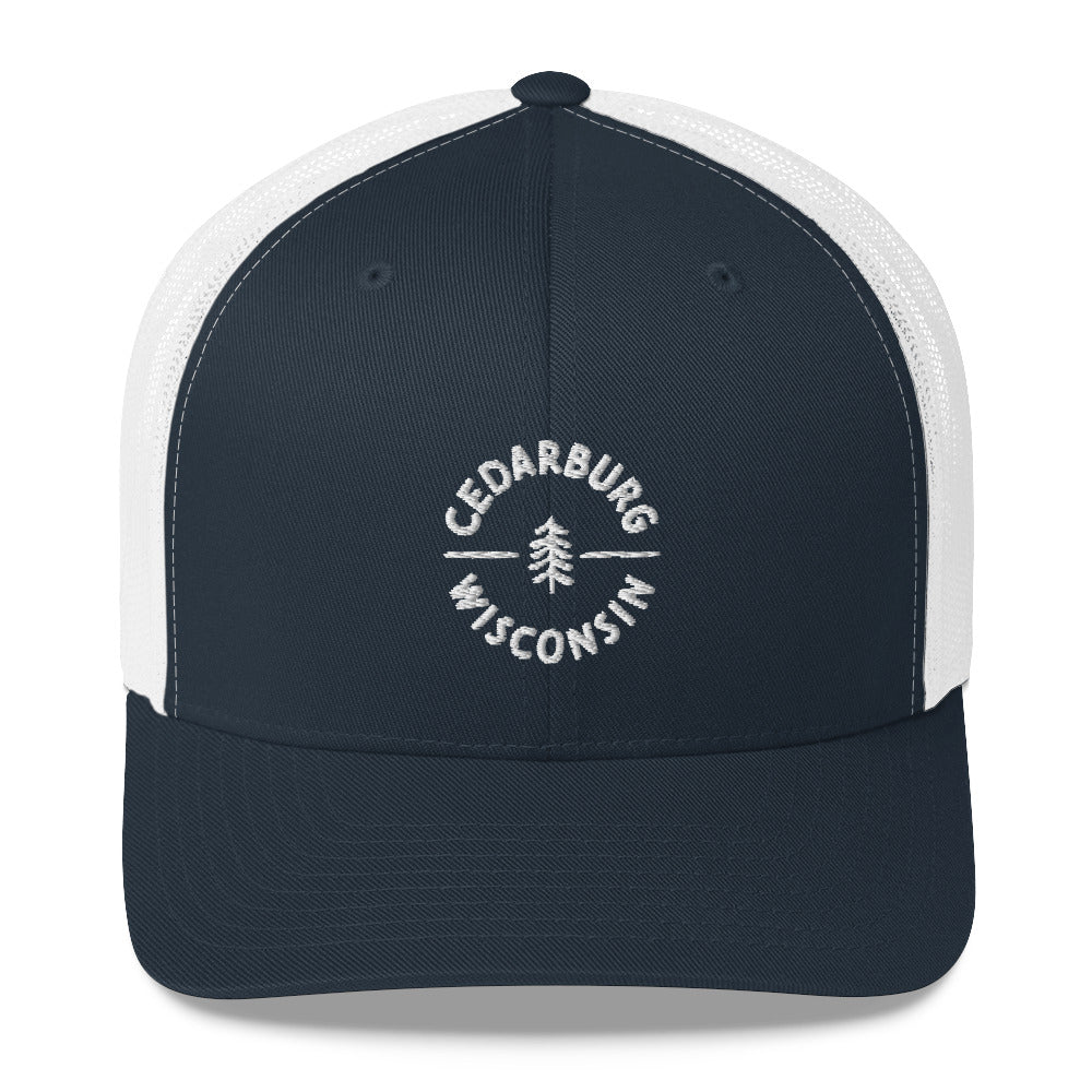 Navy and White Trucker Hat with Circle Cedarburg and tree design in white