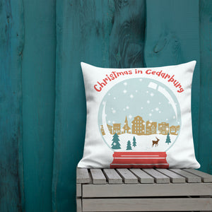 22 x 22  inch premium pillow with color snow globe design