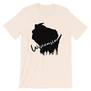 Soft Cream unisex short sleeve tee with black design featuring Wisconsin outline and evergreen trees
