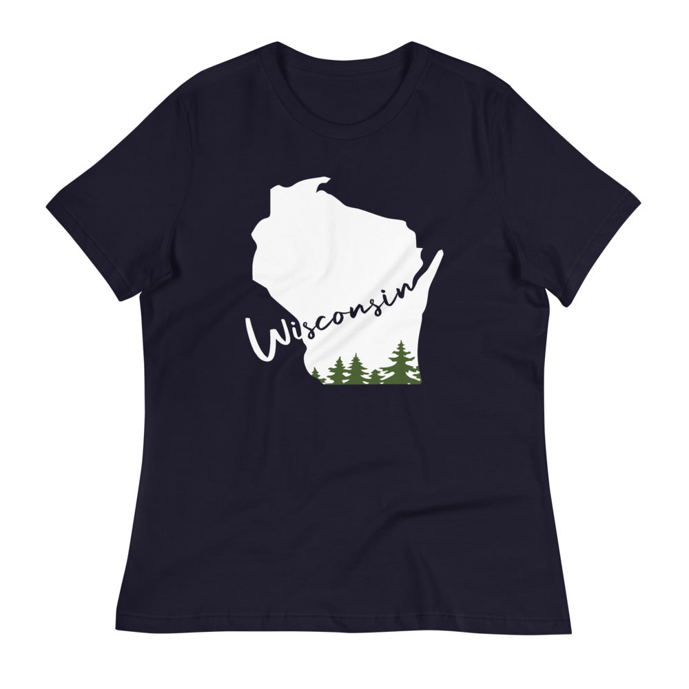 Navy Women's relaxed tee with white and green Wisconsin evergreen script design