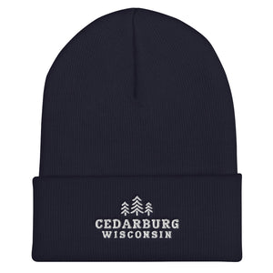 Navy cuffed beanie with three tree Cedarburg, Wisconsin embroidered design in white
