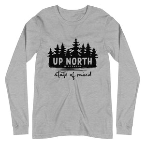 Athletic Heather Long sleeve unisex t-shirt with Wooded Up North State of Mind design in black