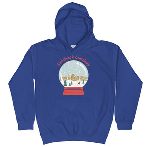 Royal Blue Kids Hoodie with snow globe Cedarburg design in color