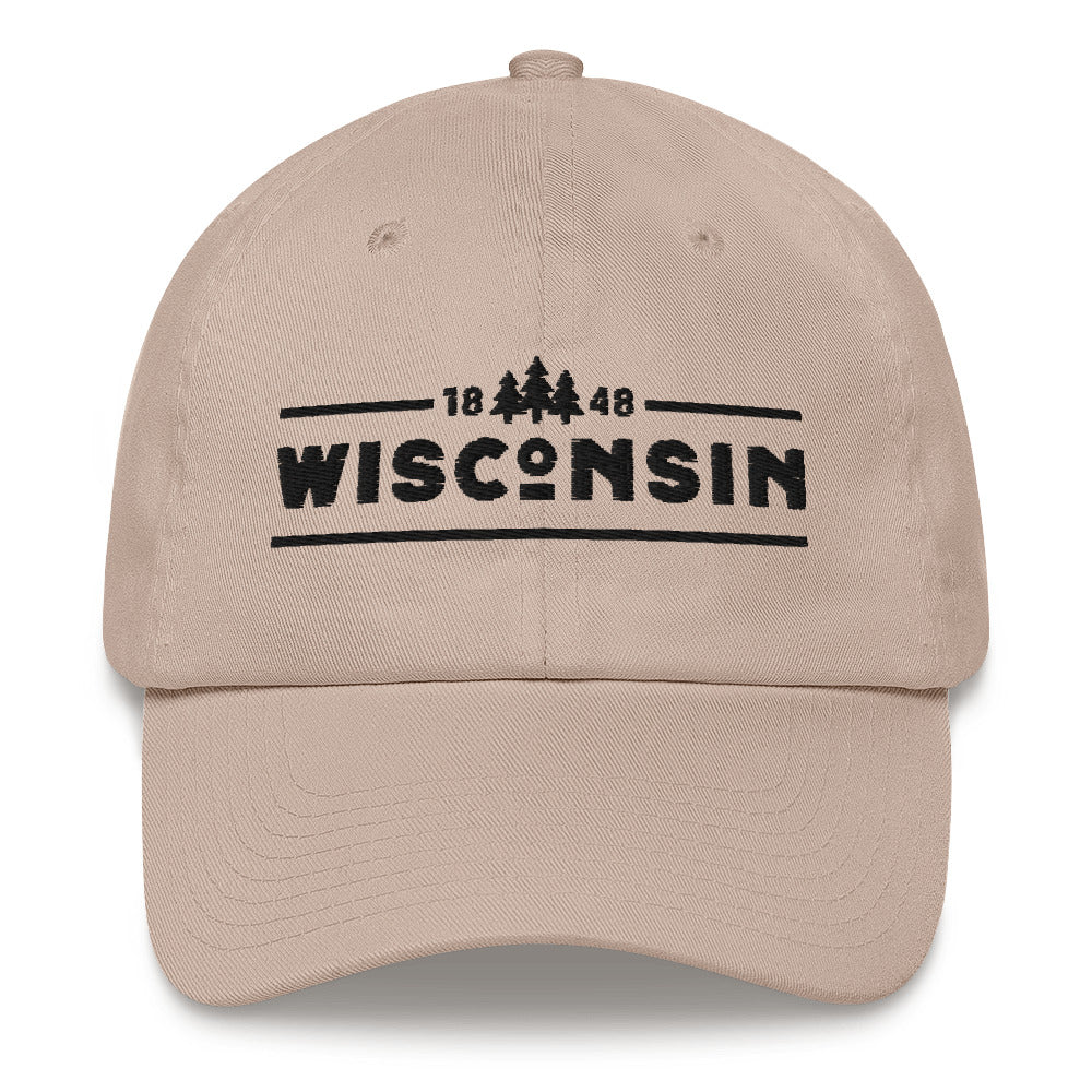 Stone dad hat with 1848 Wisconsin design embroidered in black