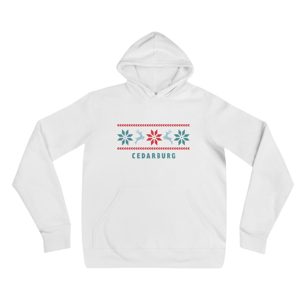 White hoodie with nordic reindeer design and Cedarburg text