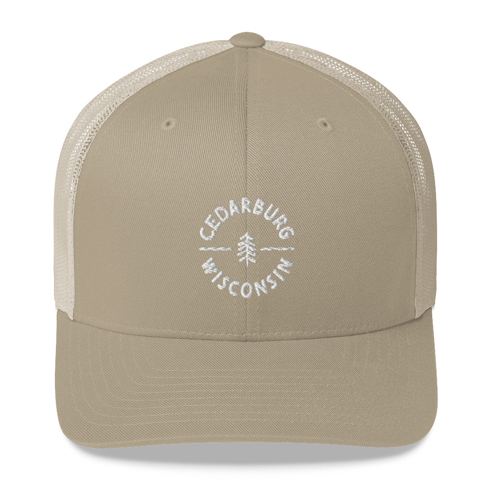 Khaki Trucker Hat with Circle Cedarburg and tree design in white