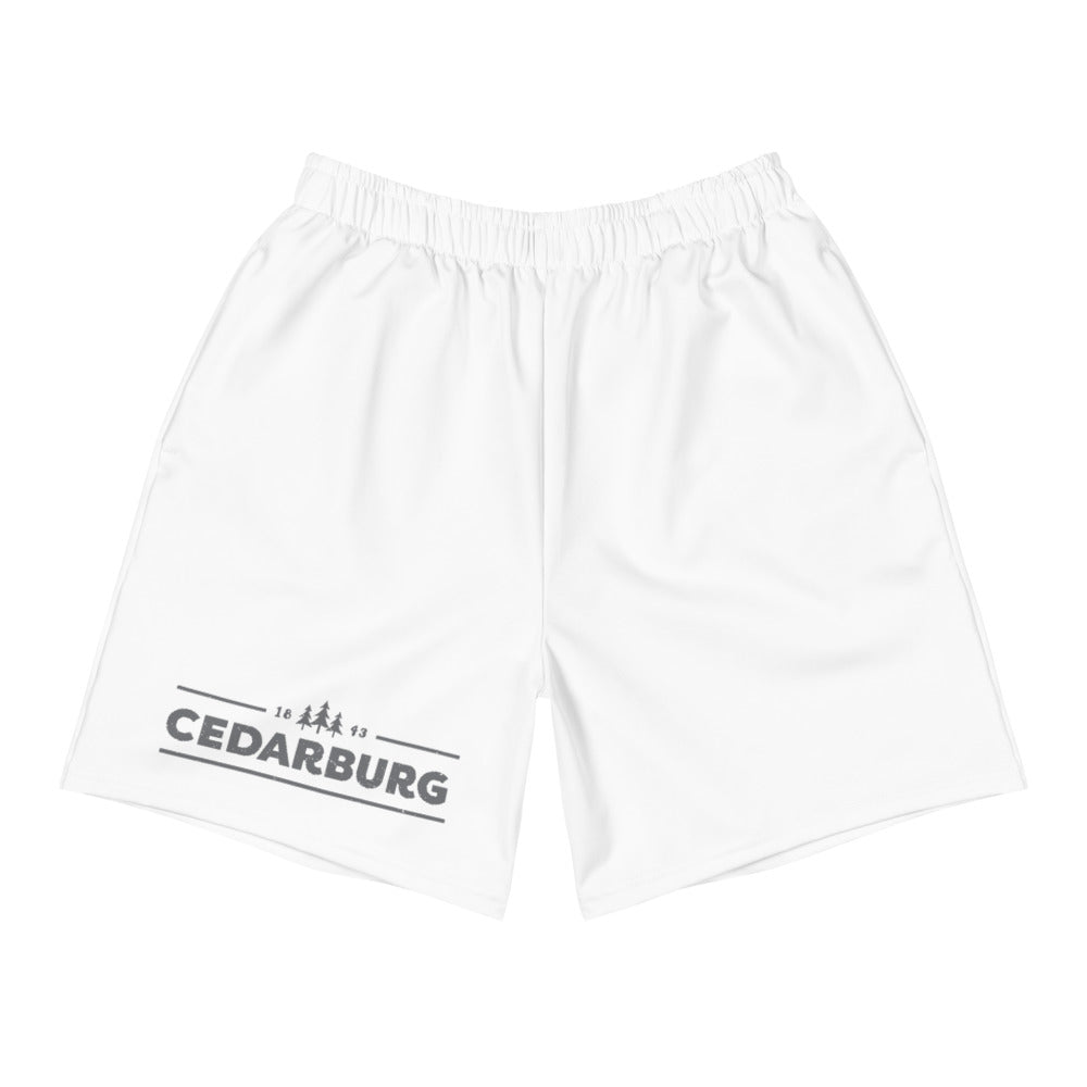White men's athletic shorts with grey Cedarburg 1843 design on right thigh