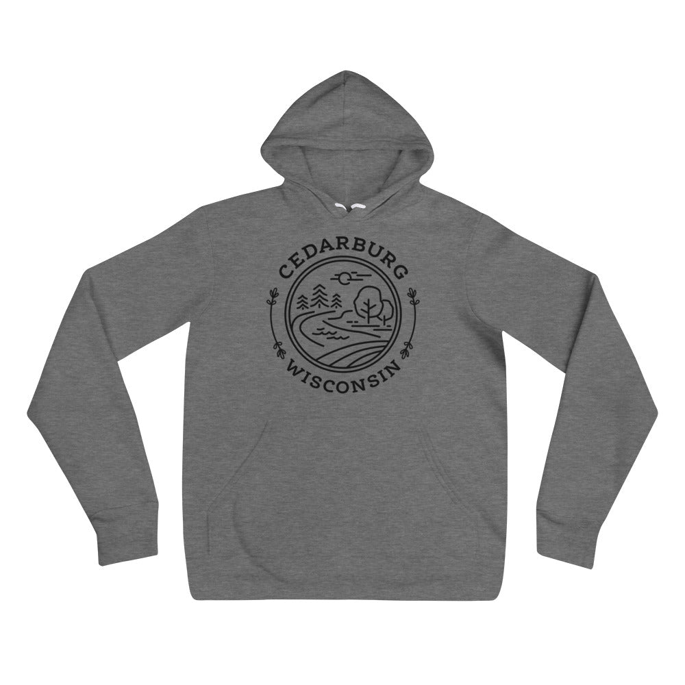 Deep Heather Hoodie with Nature Circle Design in Black