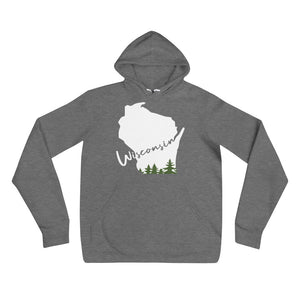 Deep heather unisex hoodie with white Wisconsin Evergreen Script Design