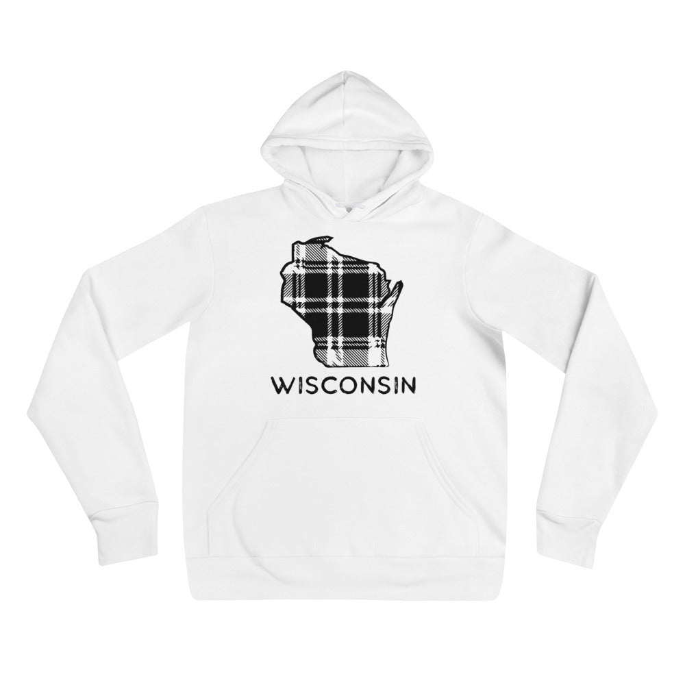 White unisex hoodie with black Wisconsin plaid image and Wisconsin type