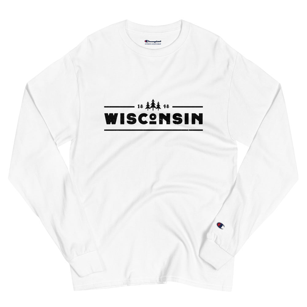 White Champion Long Sleeve shirt with 1848 Wisconsin design in black