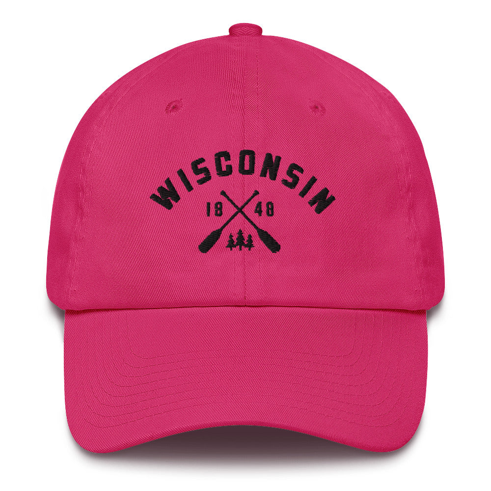 Bright Pink cotton baseball cap with Wisconsin paddle design in black