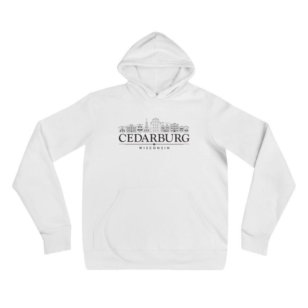 White unisex hoodie with downtown cedarburg design in black