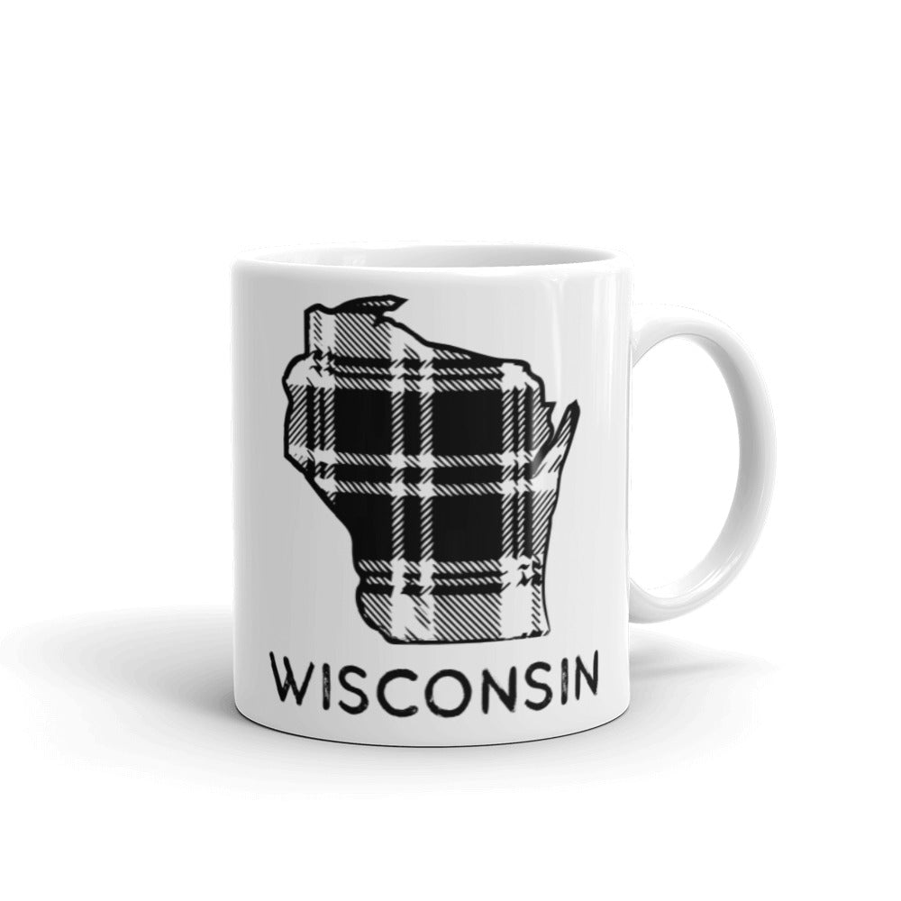 11 oz ceramic white mug with Wisconsin plaid design