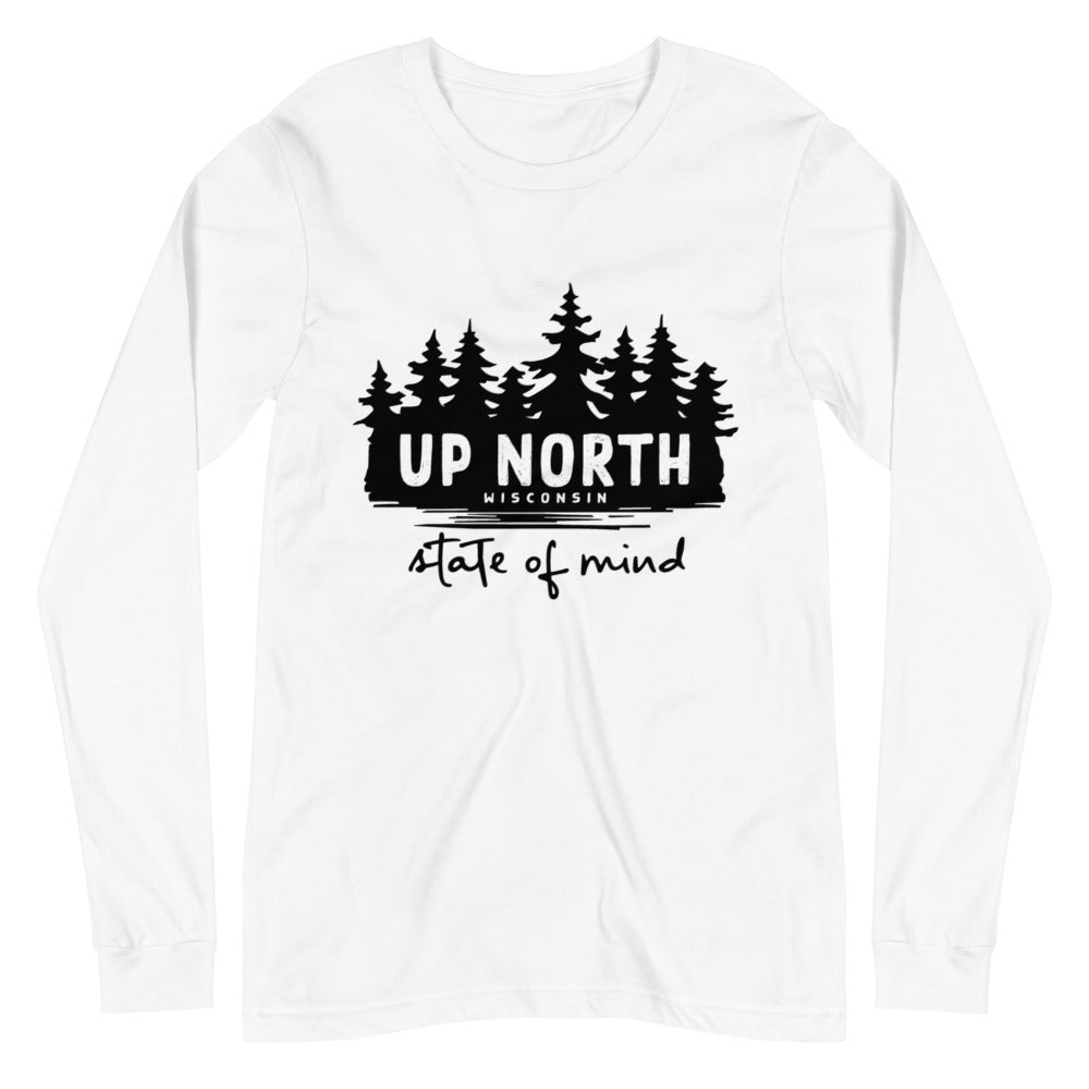White Long sleeve unisex t-shirt with Wooded Up North State of Mind design in black