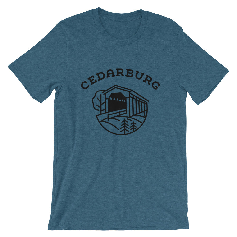 Covered Bridge Cedarburg t-shirt in heather deep teal