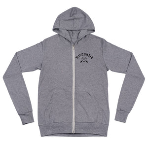 Heather grey zip up unisex hoodie with black Wisconsin plaid paddle design