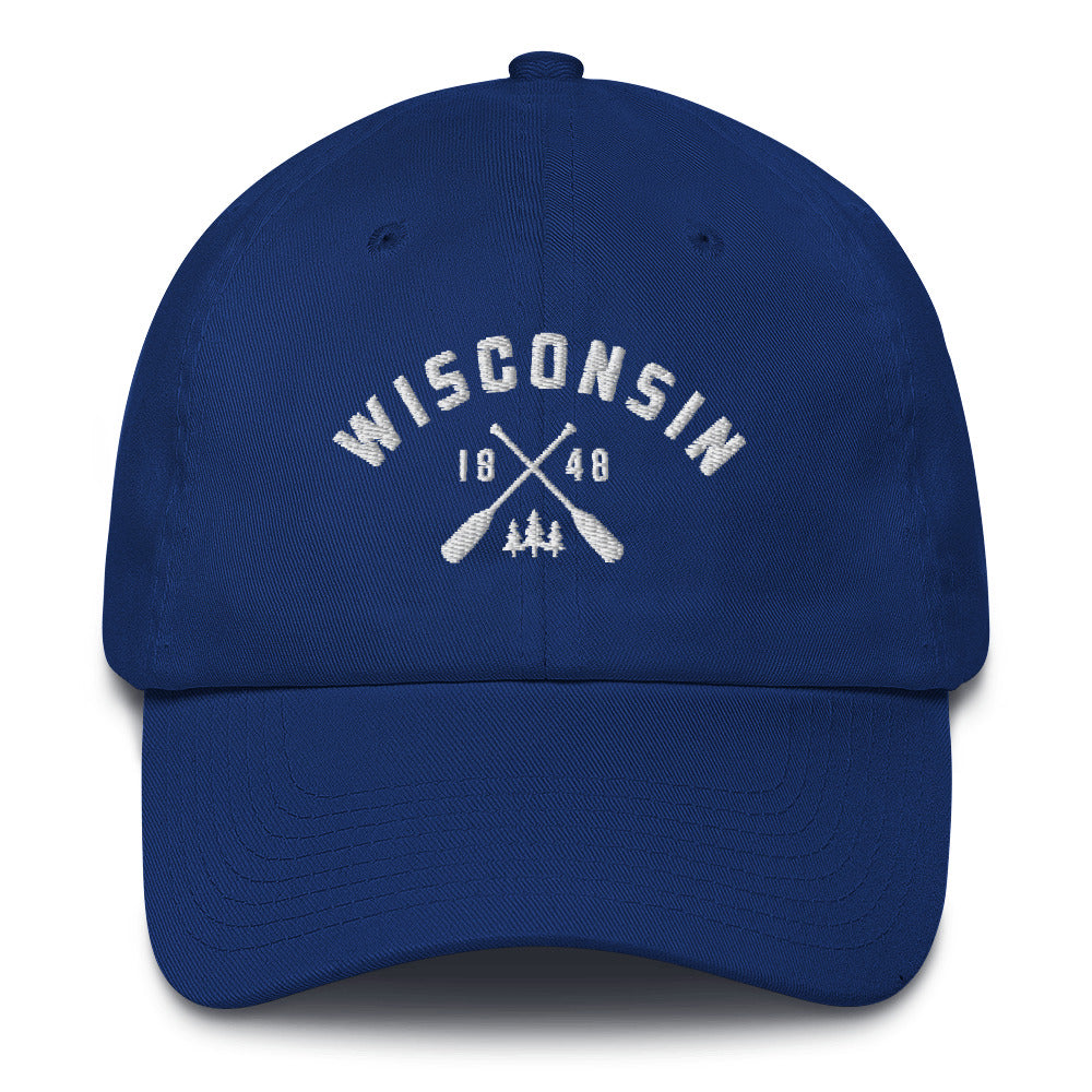 Royal Blue cotton baseball cap with Wisconsin paddle design in white