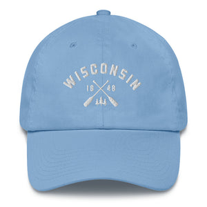 Carolina Blue cotton baseball cap with Wisconsin paddle design in white