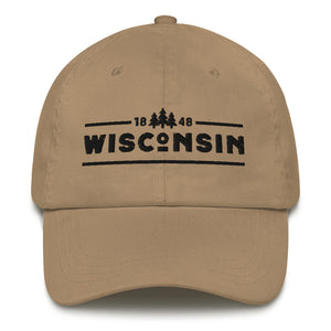 Khaki dad hat with 1848 Wisconsin design embroidered in black