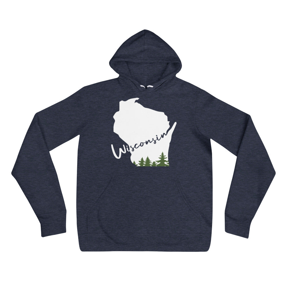 Heather Navy Unisex Hoodie with White Wisconsin Evergreen Script design