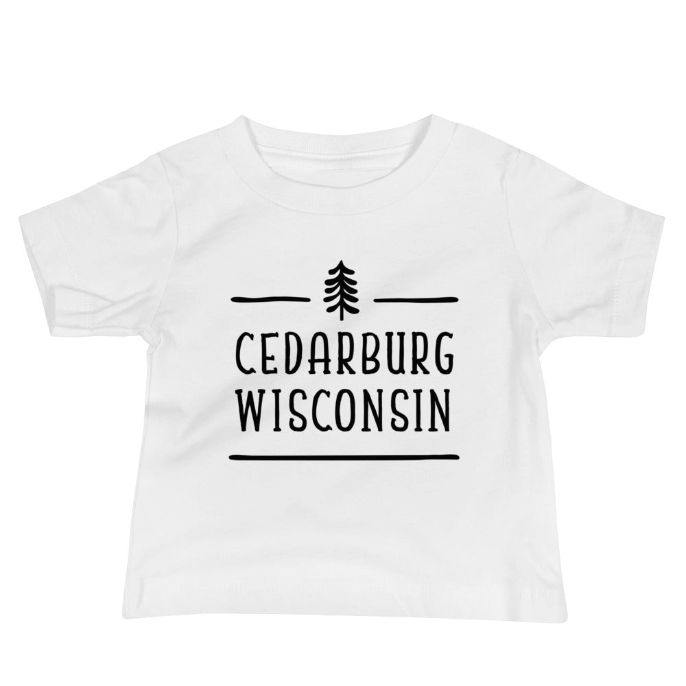 White Baby T-shirt with Tree topped Cedarburg design in black