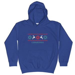 Royal Blue kids unisex hoodie with Reindeer Cedarburg design