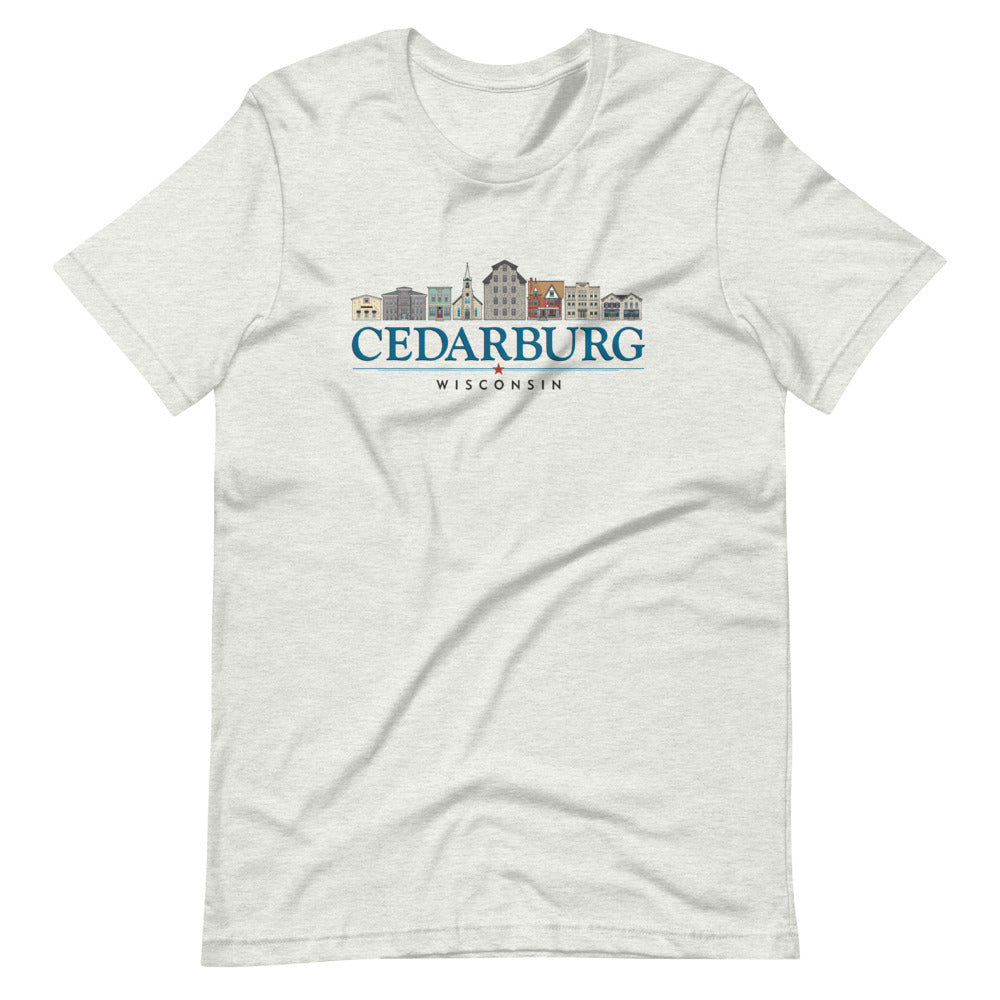 Ash Unisex T-shirt with color Downtown Cedarburg design