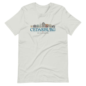 Silver Unisex T-shirt with color Downtown Cedarburg design