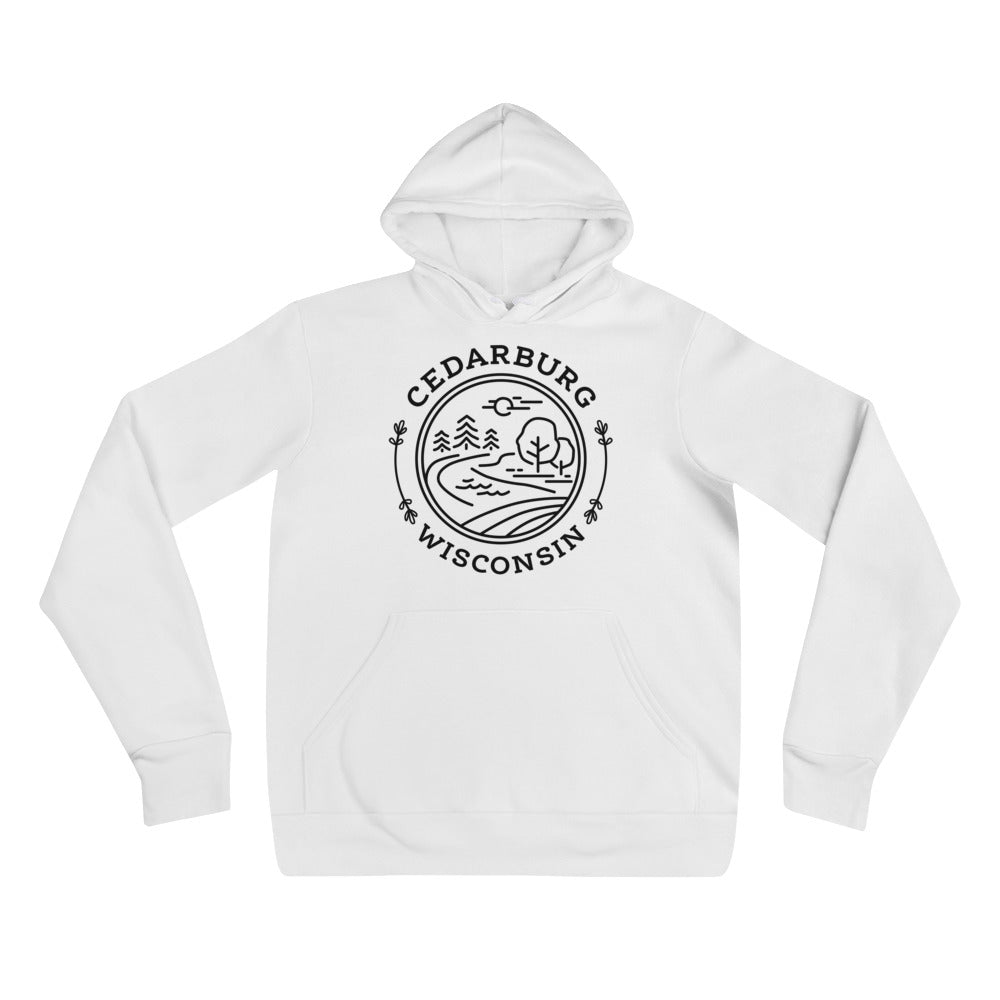 White Hoodie with Nature Circle Design in Black
