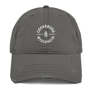 Charcoal Grey Distressed Circle Cedarburg design in white