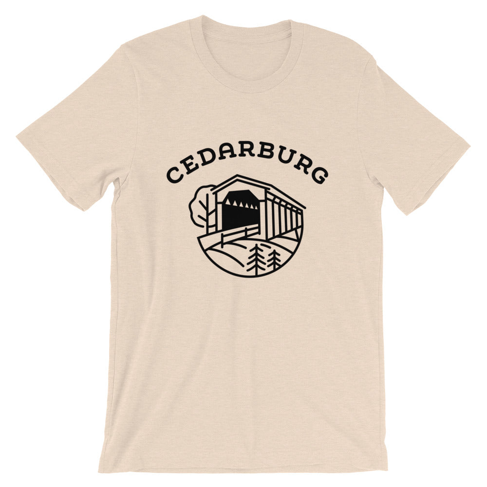 Covered Bridge Cedarburg t-shirt in heather dust