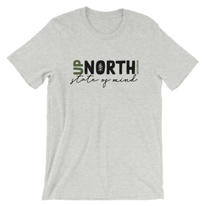 Athletic Heather Unisex short sleeve t-shirt with Up North Wisconsin design with script writing in black