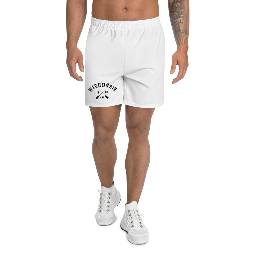 White Men's athletic shorts with Wisconsin paddle design in black