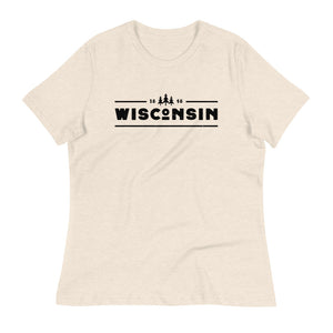 Heather Prism Natural women's relaxed fit t-shirt with black 1848 Wisconsin design