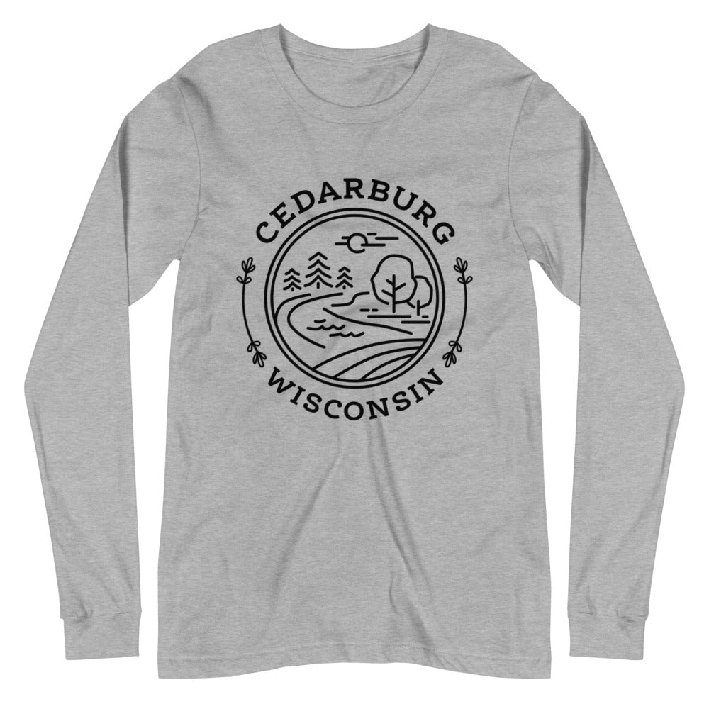 Athletic Heather Long Sleeve Tee with Nature Circle in Black