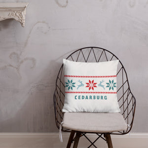 square white premium pillow with nordic reindeer Cedarburg design in full color