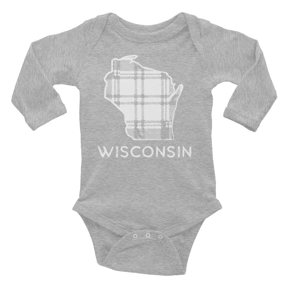 Athletic Heather long sleeve onesie with Wisconsin Plaid design in white