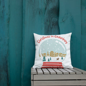 18 x 18  inch premium pillow with color snow globe design