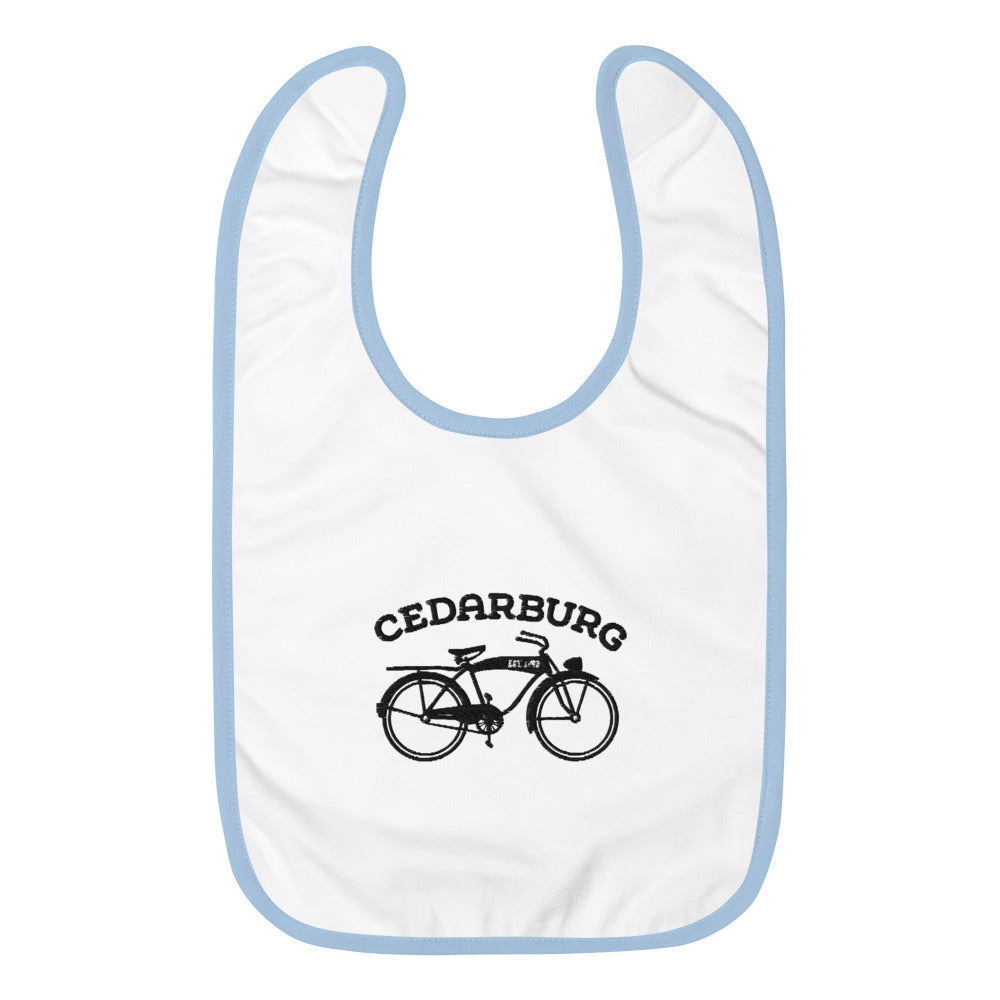 Vintage Bike Cedarburg Embroidered Baby Bib | 3 colors - Black Design