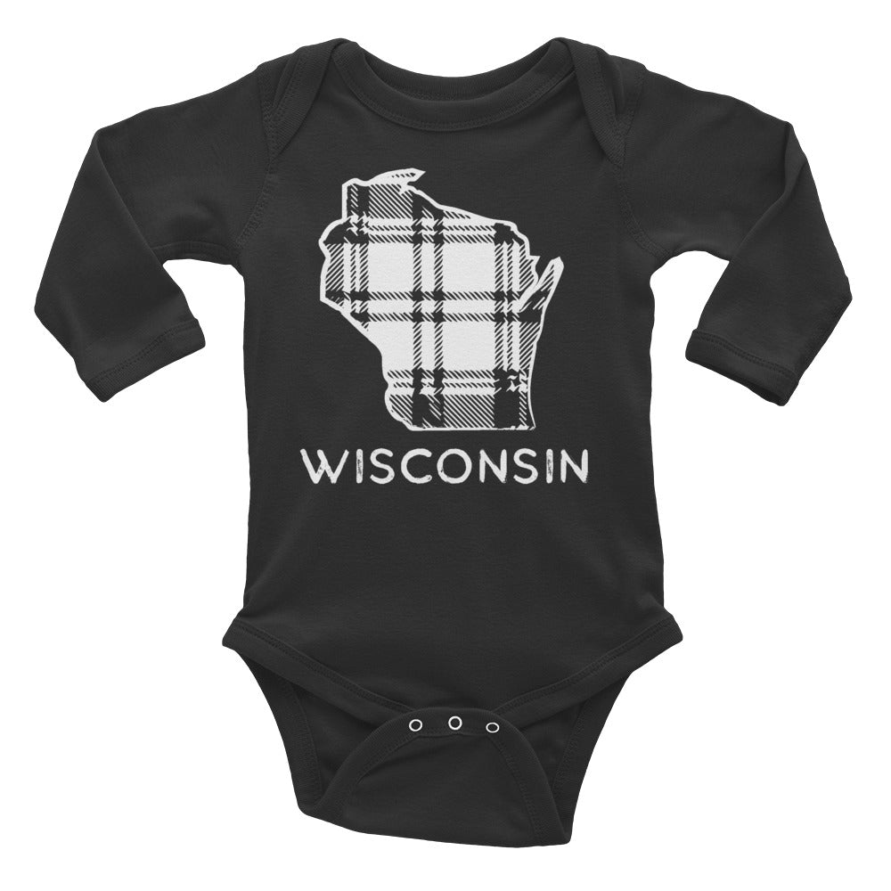 Black long sleeve onesie with White Wisconsin plaid design