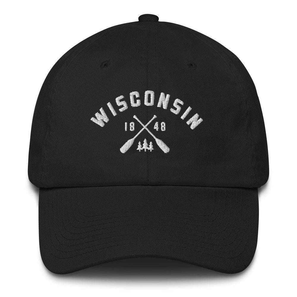 Black cotton baseball cap with Wisconsin paddle design in white