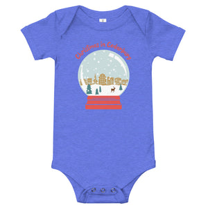 Heather Columbia Blue short sleeve baby onesie with color Cedarburg snow globe design