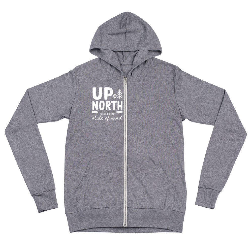 Up North Paddle State of Mind Unisex zip hoodie | 3 colors - White Design