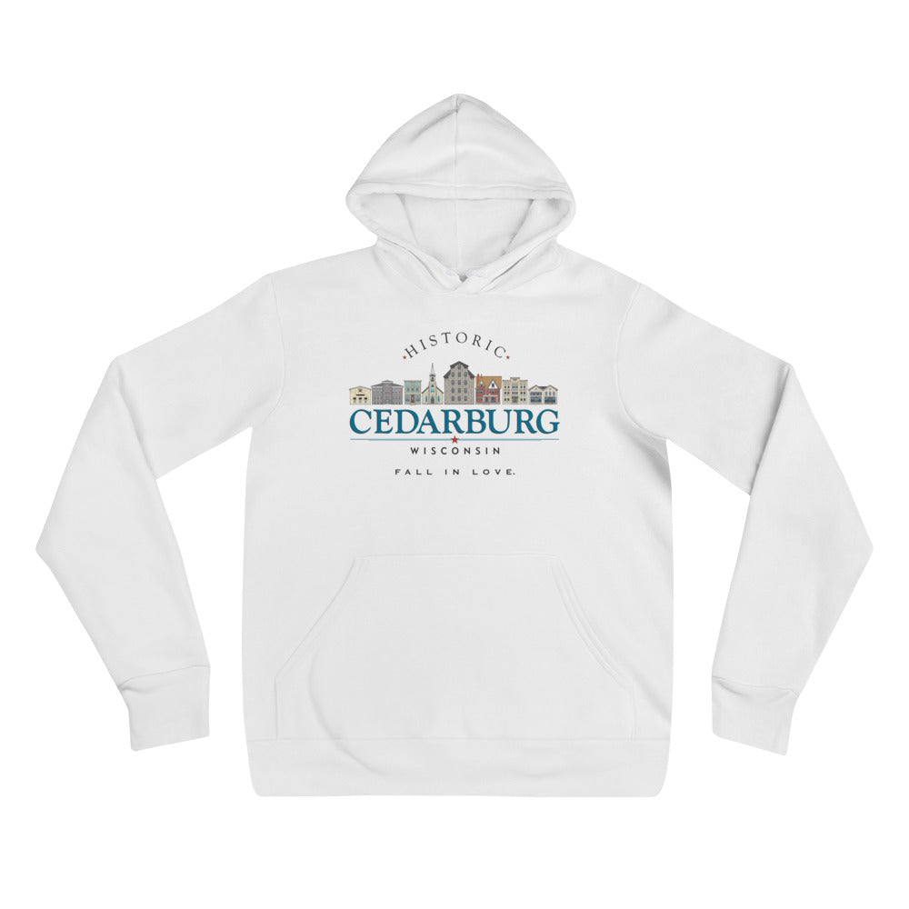 White hoodie with color design of downtown historic Cedarburg and Fall in Love writing