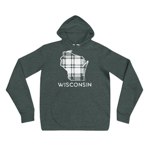 Heather Forest hoodie with white Wisconsin outline in plaid and Wisconsin printing